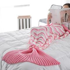 针织盖毯.沙发毯.休闲午睡毯.床尾巾-波浪美人鱼毯 90*190 粉色:RJ5002F