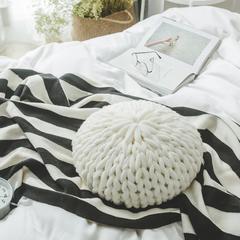 针织抱枕.针织靠枕.沙发枕-索菲亚圆枕 白色