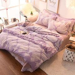 2017-冰岛牛奶绒四件套  雕花系列 标准(1.5m)床 若隐—紫