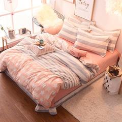 2017-冰岛牛奶绒四件套  印花系列 1.5m(5英尺)床 永恒—桔