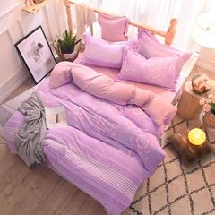 2018-轻奢巴黎雕花绒-终版四件套 1.5m(5英尺)床 芳华-紫色