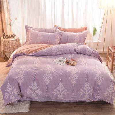 2019新款巴黎绒雕花四件套 1.8m床单款 如梦花季-紫