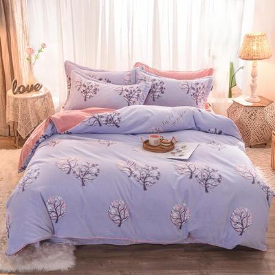 2019新款巴黎绒雕花四件套 1.8m床单款 叶之语-蓝紫