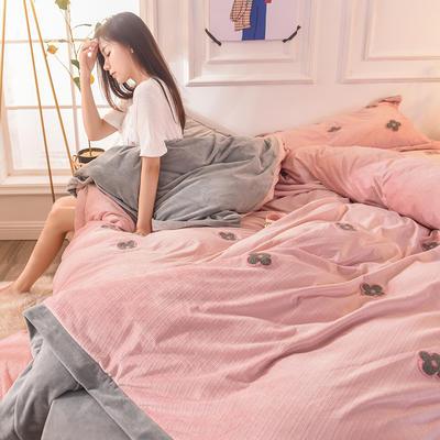 2019新款33°baby絨立體雕花毛巾繡·梵克雅-四葉草系列(清新暖心系拍攝) 1.8m床單款 輕奢粉