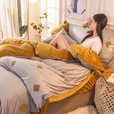 2019新款33°baby絨立體雕花毛巾繡·梵克雅-四葉草系列(清新暖心系拍攝) 1.8m床單款 香蜜黃