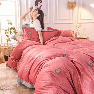 2019新款33°baby絨立體雕花毛巾繡·梵克雅-四葉草系列(清新暖心系拍攝) 1.8m床單款 香妃紅