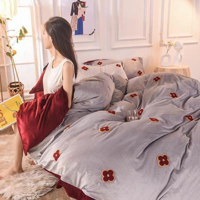 2019新款33°baby絨立體雕花毛巾繡·梵克雅-四葉草系列(清新暖心系拍攝) 1.8m床單款 巴黎紅