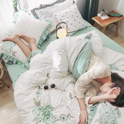 2019新款高端專版定制-ins波點芯朵 臻棉絨四件套(輕奢治愈系拍攝) 1.8m床單款 清新綠
