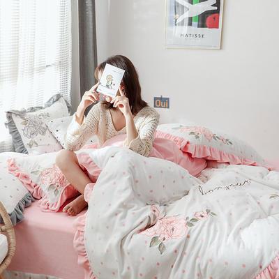 2019新款高端專版定制-ins波點芯朵 臻棉絨四件套(輕奢治愈系拍攝) 1.8m床單款 暖心粉