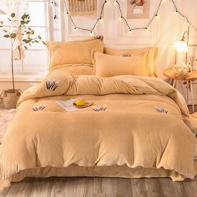 2019新款牛奶絨印花四件套(暖光拍攝) 1.5m床單款 花季-黃