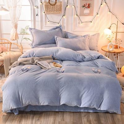 2019新款牛奶絨印花四件套(暖光拍攝) 1.5m床單款 花季-藍
