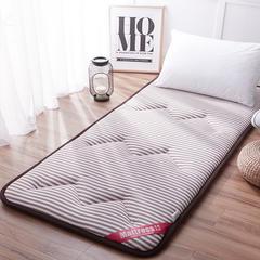 2018时尚条纹水洗棉宽包边床垫小床床垫 1.5m*2.0m 条纹之恋-咖啡
