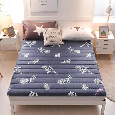 2019新款曲线绗缝床垫大床款 90*200cm 浪漫玫瑰-蓝