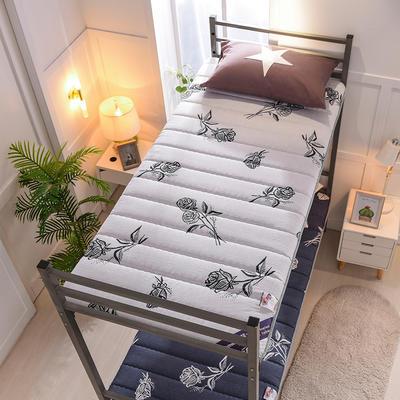 2019新款曲线绗缝床垫小床款 90*200cm 浪漫玫瑰-白