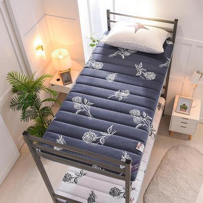 2019新款曲线绗缝床垫小床款 90*200cm 浪漫玫瑰-蓝