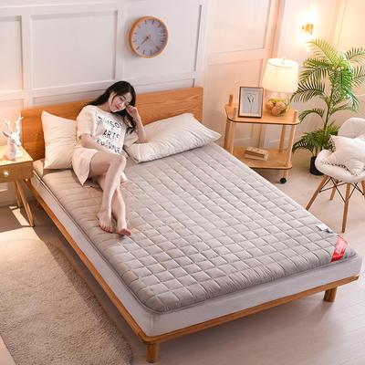 2019新款面包格全棉床垫厚款 0.9*2.0m 加厚款-浅灰