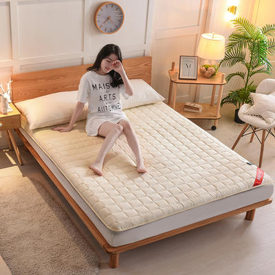 2019新款面包格全棉床垫厚款 0.9*2.0m 加厚款-米黄