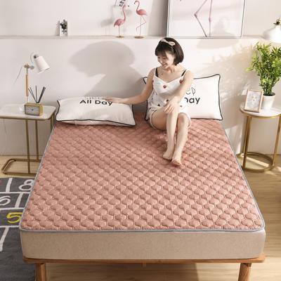 2020春款四季印花親膚棉防滑床墊床褥床護墊榻榻米墊可折疊水洗保護墊? 0.9*2.0 肌理紋-豆沙