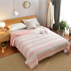 绵屋家纺    色织水洗棉夏被 200X230cm 粉色条纹
