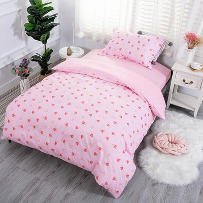 2019新款13372三件套 1.2m(4英尺)床 草莓布丁-粉