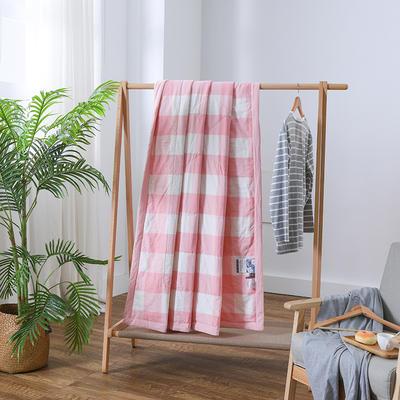 2019新款全棉色织水洗棉棉花夏被 150x200cm 粉格