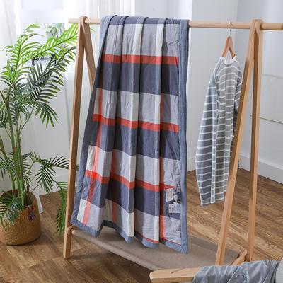 2019新款全棉色织水洗棉棉花夏被 150x200cm 红黑大格