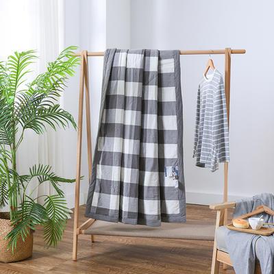 2019新款全棉色织水洗棉棉花夏被 150x200cm 灰格