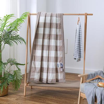 2019新款全棉色织水洗棉棉花夏被 150x200cm 咖格