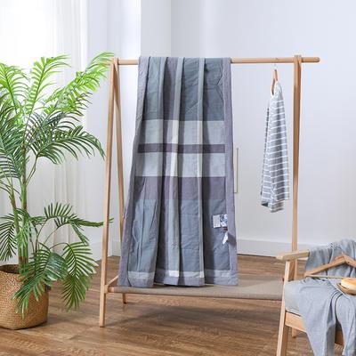 2019新款全棉色织水洗棉棉花夏被 150x200cm 蓝灰大格