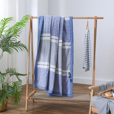 2019新款全棉色织水洗棉棉花夏被 150x200cm 蓝条纹