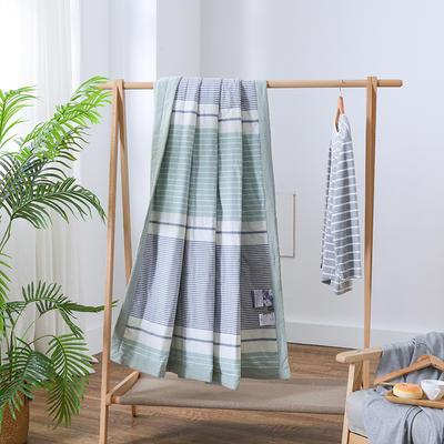 2019新款全棉色织水洗棉棉花夏被 150x200cm 绿条纹