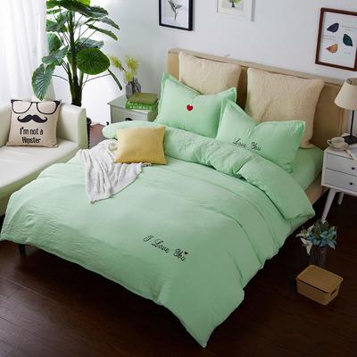 韩国刺绣水洗棉泡泡秀 1.2床 草绿