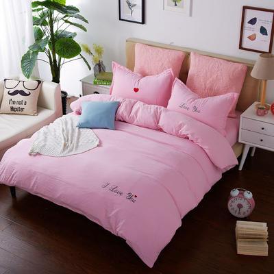韩国刺绣水洗棉泡泡秀 1.2床 粉色