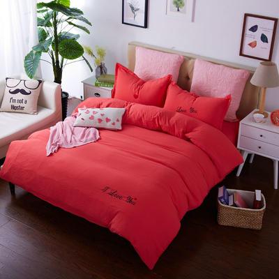 韩国刺绣水洗棉泡泡秀 1.2床 玫红