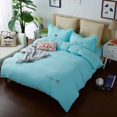 韩国刺绣水洗棉泡泡秀 1.2床 天蓝
