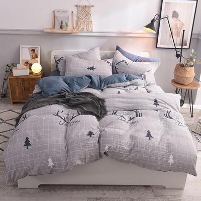 水洗棉四件套 1.2m床/床笠款 麋鹿森林灰