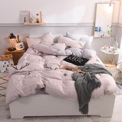 水洗棉四件套 1.2m床/床笠款 麋鹿森林咖