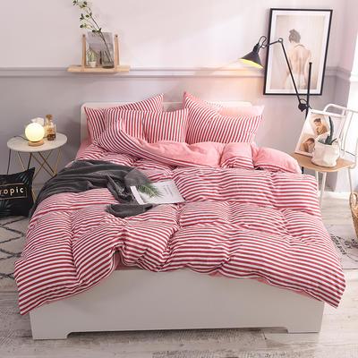 水洗棉四件套 1.2m床/床笠款 清新生活粉