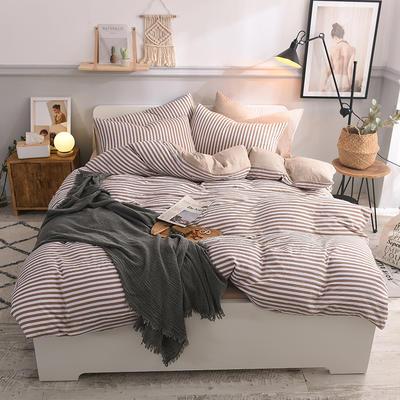 水洗棉四件套 1.2m床/床笠款 清新生活咖
