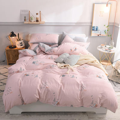 水洗棉四件套 1.2m床/床笠款 星光夜粉