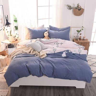 水洗棉四件套 1.2m床/床单款 兔子