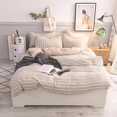 水洗棉四件套 1.2m床/床单款 驼色条纹