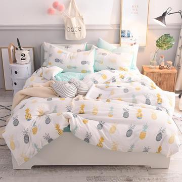 妖妖家纺 水洗棉四件套 1.2m床/床单款 小菠萝