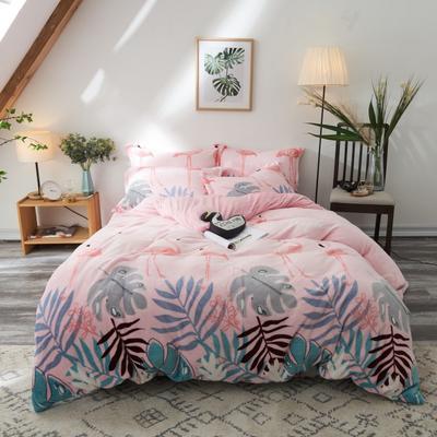 200克法莱绒四件套 1.2m 床(床单三件套) 粉鸟