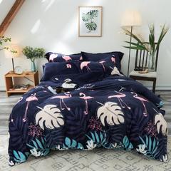 200克法莱绒四件套 1.5-1.8m 床(床单四件套) 蓝 鸟