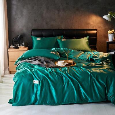 2019新款水洗真丝天丝四件套 1.2m(4英尺)床三件套 孔雀绿