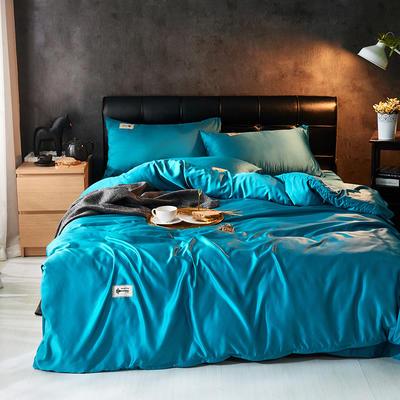 2019新款水洗真丝天丝四件套 1.2m(4英尺)床三件套 奢侈蓝