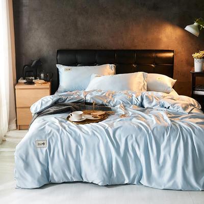 2019新款水洗真丝天丝四件套 1.2m(4英尺)床三件套 雾霾蓝
