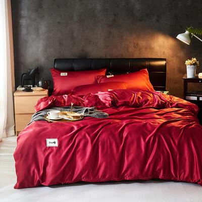 2019新款水洗真丝天丝四件套 1.2m(4英尺)床三件套 尊贵红