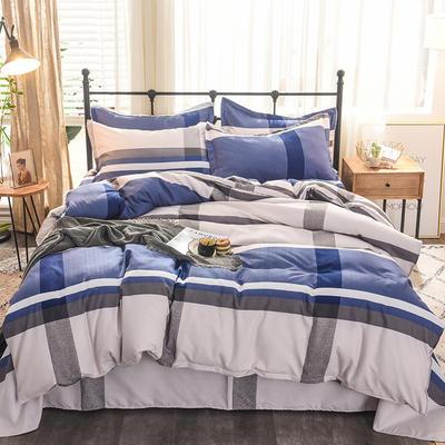 2019新款植物羊绒四件套 1.8m(6英尺)床 蓝色柔情
